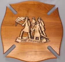 cast metal vintage fireman relief THE BRAVEST large wood shield