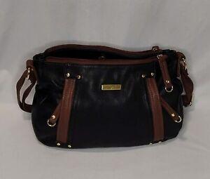 Marc Fisher Black & Brown Faux Leather Shoulder Bag