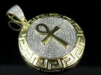 "10k Yellow Gold Over Egyptian Ankh Medallion Diamond Charm Pendant 1.45"" 2.20 Ct"