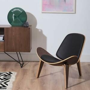 Mid Century Modern high quality wooden chair Genuine Leather black Walnut