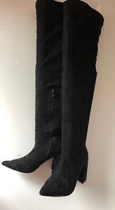 "Liliana Black Thigh High Block Heel Boots Faux Suede w/ 3.5"" heel SIZE 6"