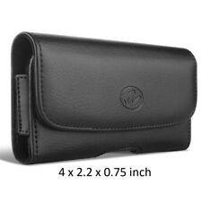 Black Horizontal Leather Case w/ Belt Loops & Belt Clip Holster 4 x 2.2 x 0.75