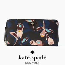 Auth KATE SPADE Dawn Paper Rose Nylon Floral Large Continental Wallet WLRU5556