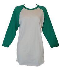 American Apparel 50/50 Green / White 3/4 Raglan Sleeve Crew Neck T-Shirt M