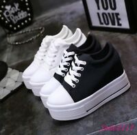 Womens Platform Canvas Shoes New Lace Up Wedge High Heels Creepers Casual Chic