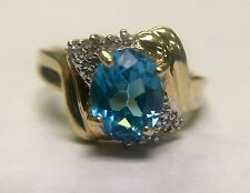 10K SOLID YELLOW GOLD BLUE OVAL TOPAZ RING SIZE: 7