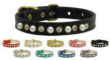 Designer Mirage Diamante & Pearl dog puppy collar ex small & small  8 to14 inch