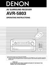 Denon AVR-5803 AV Surround Receiver Owners Manual