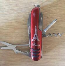 Paris France Pocket Knife Travel Tool- Scissors, Philips, Wine Opener