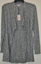 Juicy Couture Women's Gray LS Embellished Open Front Flyaway Cardigan Size XS