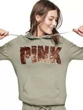 Victoria Secret PINK Rose Gold Bling Pullover Hoodie Sweatshirt ~ Size Large