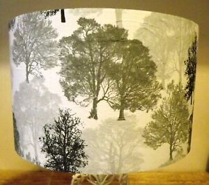 Silver Trees Lampshade,light shade, shabby chic, grey, white,,FREE GIFT