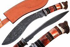 DAMASCUS STEEL ETCHED BLADE KUKRI HUNTING KNIFE,BONE & CROWN STAG HORN HANDLE