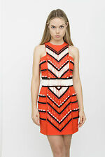 BALMAIN Embellished Crepe Mini 2015 Orange Red White Black Bead Mini Dress 4/36