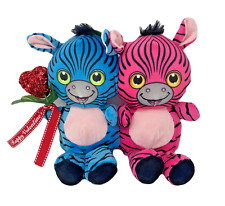 "10"" Tall Zebra Pair Plush Stuffed Animal Valentines Couple Holding Red Heart"