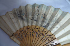 Antique Hand Painted Hand Fan AF 28cm x 68cm A70017