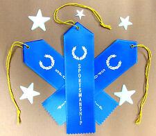 3 x SPORTSMANSHIP Award Best QUALITY Ribbons w/Card & String 2x8 FAST SHIP