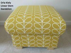 Orla Kiely Linear Stem Dandelion Fabric Pouffe Footstool Mustard Ochre Accent