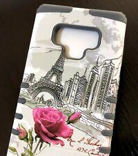 Samsung Galaxy Note 9 - Hybrid High Impact Armor Case Gray Paris Eiffel Tower