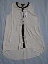 August Silk L White Sleeveless Blouse Knit Top Layered Fabric Black Trim NWT $60