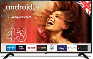"""Cello ZG0234 43"""" Smart Android TV Freeview Play 3 x HDMI USB Google Black 2020"""