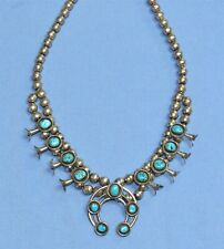Vintage Navajo sterling silver squash blossom necklace with turquoise beads