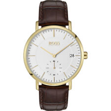 *BRAND NEW* Hugo Boss Men's Corporal Brown Leather Gold Case Watch 1513640