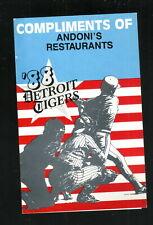 Detroit Tigers--1988 Pocket Schedule--Andoni's Restaurant