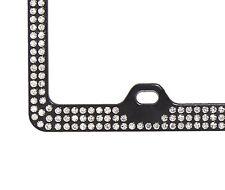 3Row Inset Crystal Rhinestone on Black License Plate Frame w/ Swarovski Elements