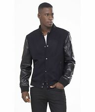 NEW $198 Express Black Faux Leather Bomber Jacket Mens Size Small Coat NWT