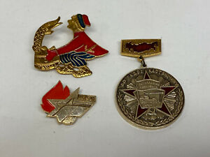 Lot of 3 Vintage Russian 1980 Moscow Olympic Enamel Pinbacks