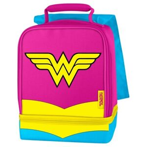 Thermos Wonder Woman with Cape Dual Compartment Lunch Bag Box NWT