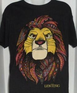 DISNEY LION KING SIMBA AFRICA TRIBAL MANE MOVIE BLACK GRAPHIC T-SHIRT LARGE