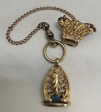 ANTIQUE S&C GOLD FILL POCKET WATCH FOB CHAIN CLIP PENDANT RHINESTONE CHARM