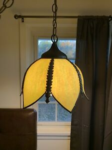 Vintage Retro 6 Panel Green Slag Glass Tulip Lotus Flower Hanging Pendant Light!