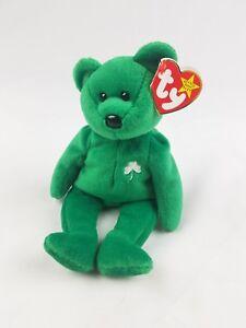 Vtg TY Beanie Baby Erin Bear green 1997 retired Saint Patrick Day