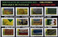 NOUVEAUTE DU 4 JANVIER 2021 -12 TIMBRES OBLIT PRIORITAIRE PAYSAGE DE MOSAIQUE