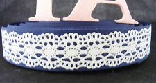 "1"" (25mm) Grosgrain Ribbon - By the Metre - #4066 Navy Lace"