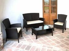 Set Da Esterno Giardino Noce Completo Di Divano,tavolino E 2 Poltrone Cuscino