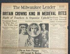 Coronation Of King George VI-Princess Elizabeth - British Royalty-1937 Newspaper