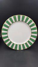 Zrike Porcelain Green White & Gold Striped Monno 10 1/2 inch Dinner Plate