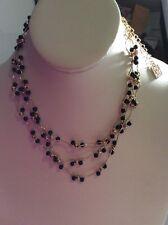$36 Ann Klein Multi Layer Gold Tone Black Bead  Necklace A104
