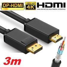 ✅3Meter Adapter Kabel Display Port zu HDMI DP auf HDMI Konverter Kabel 2K 4K NEU