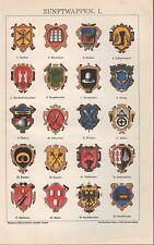 Chromo-Lithografie 1896: ZUNFTWAPPEN. I/II. Maurer Dachdecker Schornsteinfeger