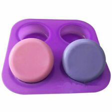 DIY 4 Holes Round Silicone Mold Handmade Soap Mold Pudding Jelly Making Mold