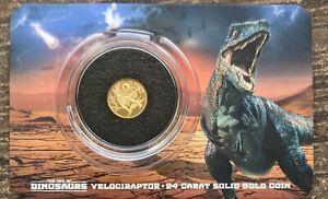 2021 Solomon Islands Age of Dinosaurs 0.5 gram .999 Gold Proof Coin VELOCIRAPTOR