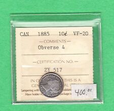 1885 Canada - Ten Cents - ICCS Graded VF-20 Obverse 4