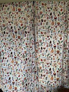 "IKEA Rodarv 2 Curtain Panels Swedish Folk Art RARE 57""x98"" No Tie Backs"
