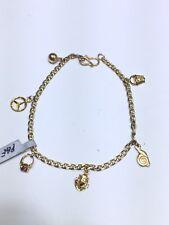"18k Solid Yellow Gold Diamond Cut Lucky Charm Chain Link Bracelet 7"" 5.86g"