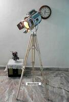Vintage Chrome Spot Light  Industrial Designer wood Tripod Floor Lamp